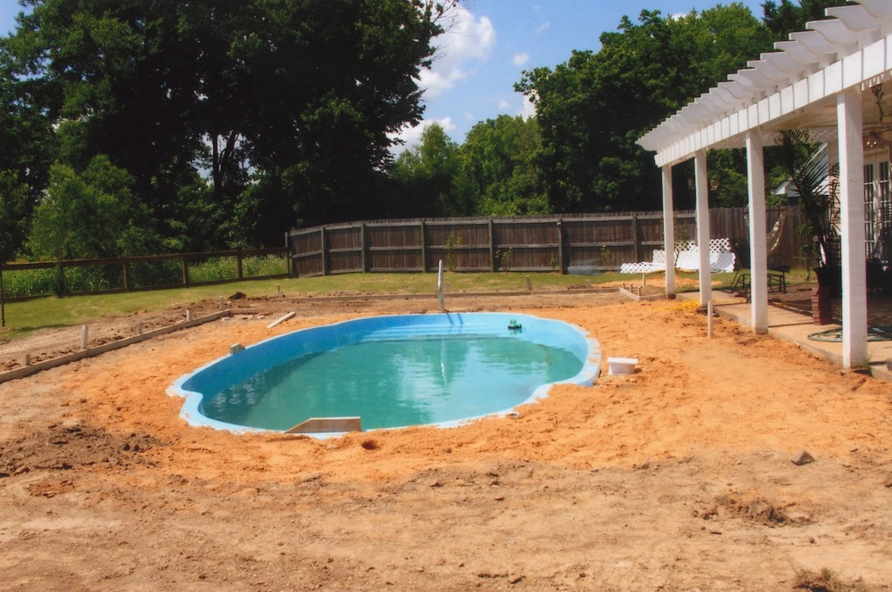 Early Installation of in-ground fiberglass pool